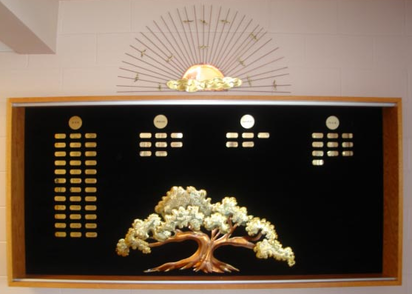 wooden shadowbox with large tree and engraved gift notes